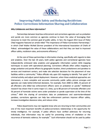 Improving Public Safety and Reducing Recidivism: Police-Corrections Information Sharing and Collaboration